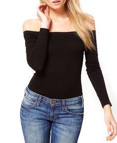 Boat Neckline Off-the-shoulder Black T-shirt