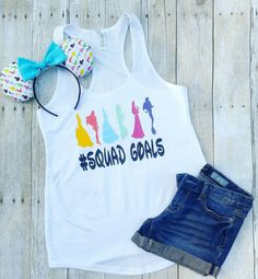 """Thank you for stopping by my shop! I am excited to have you here! Disney Addicts this top is for you!! My """"Princess with Squadgoals"""" is perfect for your Disney vacation! ***This listing is for the tan"""