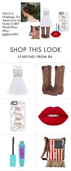 """""""Dressy BFF Challenege"""" by geordon-unicorn ❤ liked on Polyvore featuring Durango, Casetify, Lime Crime and M&F Western"""