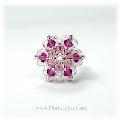 Swarovski Crystal Ring, Bead-woven Crystal Ring, Pink Star shaped Ring, for girls, for teens on Etsy