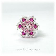 Pink Star shape Swarovski Crystal Beaded Ring for girls by Florist, $19.00
