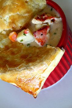 Lobster Pot Pie- got to make this for my hubby. Seafood Pot Pie, Lobster Pot Pies, Lobster Recipes, Seafood Dishes, Fish Recipes, Seafood Recipes, Chicken Recipes, Cooking Recipes, Quiche