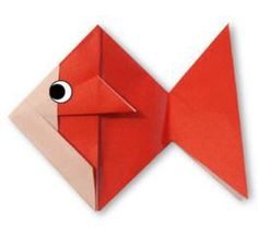 Origami Goldfish (animation et diagramme) Origami App, Origami And Kirigami, Origami Folding, Paper Crafts Origami, Oragami, Diy Paper, Paper Crafting, Origami Goldfish, Origami Fish