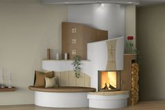 Home Fireplace, Living Room With Fireplace, Fireplace Surrounds, Stair Shelves, Rocket Stoves, Home And Living, Building A House, Sweet Home, House Design