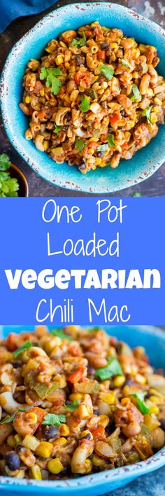 This One Pot Vegetarian Chili Mac is loaded with tons of vegetables making it a healthy and delicious quick and easy weeknight dinner option!  Gluten free and vegan!