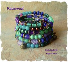 Reserved - Boho Layered Bracelet, Peacock Colorful, Gypsy Queen  Beaded…