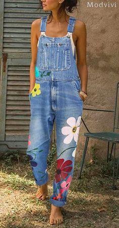 Buy Women's fashion denim jumpsuit embroidery flower long paragraph jumpsuit overalls printed jumpsuit jumpsuit plus size at Wish - Shopping Made Fun Denim Jumpsuit, Printed Jumpsuit, Denim Overalls, Jumpsuit Outfit, Casual Jumpsuit, Floral Jumpsuit, Summer Jumpsuit, Denim Blouse, Floral Romper