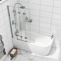 Mode 6mm frameless left handed 4 screen folding hinged bath screen offer pack