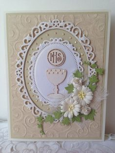 Beautifully Handmade First Holy Communion card. Card measures 5 x 6,5 in and comes with white envelope in clear cello bag. Card is blank inside.