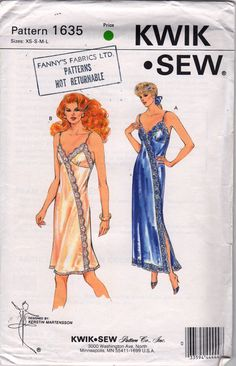 ea063d1105 Kwik Sew 1635 1980s Misses LINGERIE Nightgown and Slip Pattern Asymmetrical  Womens Vintage Sewing Pattern Size xs s m l Bust 31- 41 UNCUT