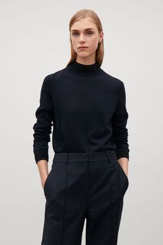 COS image 2 of Knitted top with contrast rib detail in Navy