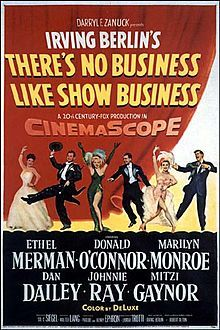 There's No Business Like Show Business // Directed byWalter Lang  Produced bySol C. Siegel  Screenplay byPhoebe Ephron  Henry Ephron  Story byLamar Trotti  StarringEthel Merman  Dan Dailey  Donald O'Connor  Mitzi Gaynor  Marilyn Monroe  Richard Eastham  Johnnie Ray  Hugh O'Brian  Frank McHugh  Music byIrving Berlin (songs)  Distributed by20th Century Fox  Release date(s)December 16, 1954