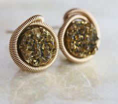 Druzy Stud Earrings  Gold Druzy Stud Earrings by LHJewelryBoutique, $64.00