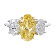 Yellow Diamond Engagement Ring, Yellow Diamond Rings, Oval Diamond, Diamond Wedding Rings, Vintage Engagement Rings, Yellow Diamonds, Canary Diamond, Pink Sapphire, Colored Diamonds
