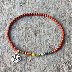 First chakra, Root chakra anklet. Faceted genuine red jasper and chakra gemstones, stretch anklet with Root chakra charm. #anklet