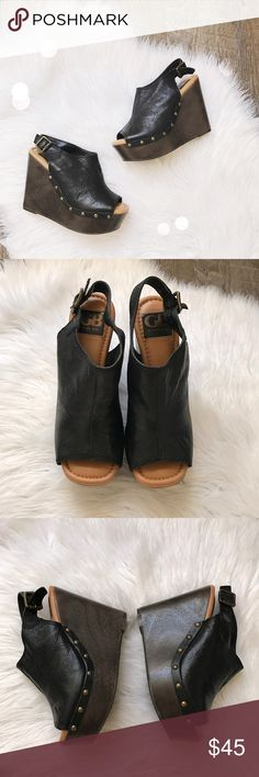 Gianni Bini Black Leather Studded Wedges Adorable black leather upper wooden wedges with golden studs from Gianni Bini. Size 6. Very good used condition, minor wear on bottoms and small scuff on back of heel. No box. No trades! Gianni Bini Shoes Wedges
