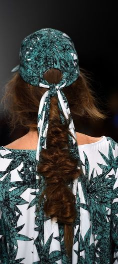 Chunky braids & printed caps on the Mara Hoffman Runway at Mercedes-Benz Fashion Week NYFW SS15