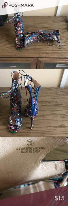 Multi-colored Sandals.  Blue, Green, Red, etc Brand New, high heeled sandals from Lola boutique.  Never worn outside of home. Liliana Shoes Sandals