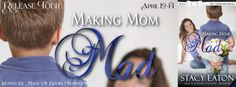MAKING MOM MADThe Celebration Township book 6by Stacy Eaton  Genre: Contemporary Romance  Corrine Wagner is determined to make a good life for herself and her son while hunting for the perfect man to complete her family. Unfortunately with her crazy schedule of school and work her patience begins to run thin with her constantly-in-trouble five-year-old son Tommy.  Nolan Tigues has lived across the street from Corrine his whole lifeand carried a torch for her almost as long. When Nolan tries…