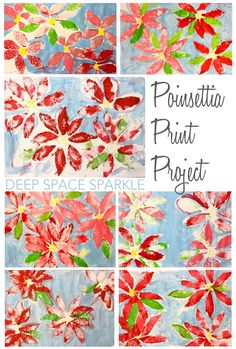 Print Project Poinsettia print art project: simple kid's art and craft activity for the holidays.Poinsettia print art project: simple kid's art and craft activity for the holidays. Christmas Art Projects, Winter Art Projects, School Art Projects, Christmas Art For Kids, Simple Art Projects, Preschool Christmas, Winter Christmas, Christmas Crafts, Art Lessons For Kids