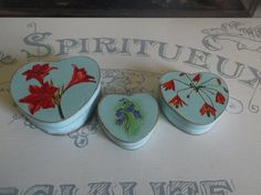 Set Of Three Heart Shaped Wooden Trinket Boxes With Hand Painted Flowers