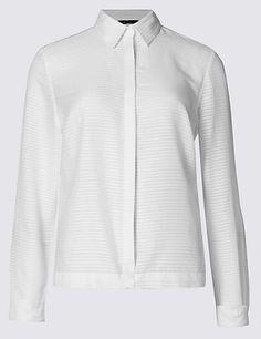 Pure Cotton No Peep Sheer Striped Shirt | M&S
