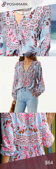 New Item-Boho early Autumn floral print blouses New Boho early Autumn floral print blouses.  Sleeve Length(cm)Full Sleeve Style               lantern Sleeve Pattern Type               Floral Collar                      V-Neck Fabric Type               Broadcloth Decoration               Tassel Material                      Cotton,Rayon Clothing Length        Regular.                                                                                                             NWT…