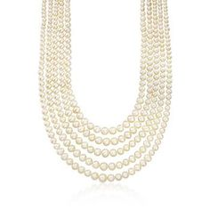"""Ross-Simons - 4-8.5mm Cultured Pearl Five-Strand Necklace With Sterling Silver. 16"""" - #799482"""