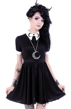 Restyle Gothic Lolita Gypsy Witch Moon Little Black Mini Dress at Amazon Women's Clothing store: