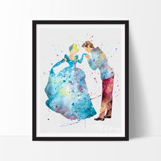 Cinderella & Prince Charming Disney Watercolor Art. This art illustration is a composition of digital watercolor images and silhouettes in a minimalist style.
