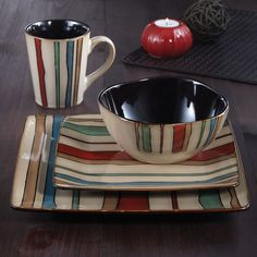 I pinned this 16 Piece Canyon Stripes Dinnerware Set from the Art of Global Dining event at Joss and Main!