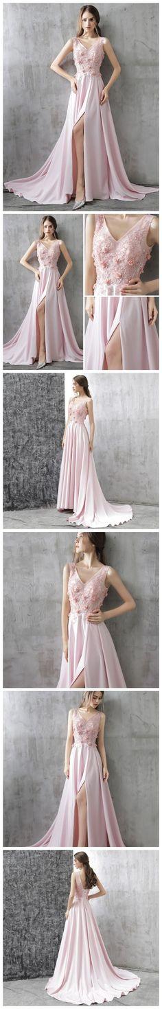 CHIC A-LINE V-NECK CHIFFON PINK APPLIQUE LACE MODEST PROM DRESS EVENING DRESS AM351