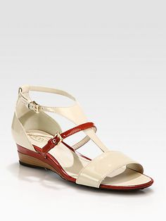 Bicolor Patent Leather Wedge Sandal