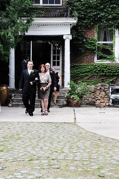 The groom walked all of the grandparents and parents, including the mother of the bride down the aisle- nice touch!