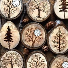 Pyrography wood burning trees on tree wood slices Wood Slice Crafts, Wood Burning Crafts, Wood Burning Patterns, Wood Burning Art, Wood Burning Projects, Rustic Wood Crafts, Wood Burning Stencils, Stencil Wood, Winter Wood Crafts