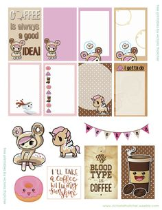 Free Coffee Donutella Printable Planner Stickers