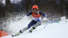 American Julia Mancuso skiing her way to a bronze medal in the women's super combined event.
