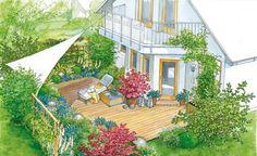 So wird aus Ihrer Terrasse ein gemütliches Plätzchen, an dem man gerne verweilt. (Pflanzplan als PDF zum Herunterladen und Ausdrucken)