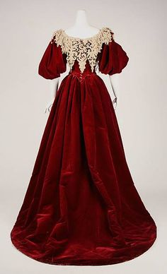 Worth gown, c.1893-95, red velvet dress with day and evening bodices. Met Museum