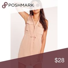 F I N A L  P R I C E • NWT Missguided Silky Dress US 6 or 10 • New with tags, in sealed package. Light nude color, sleeveless style with a drawstring waist and pocket detailing. 100% polyester. Missguided Dresses