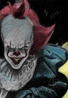 Pennywise.  Freehand sketch using coloured chalk/charcoal. Levels adjusted digitally.