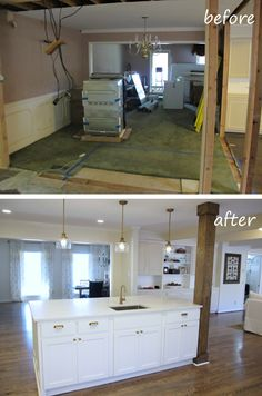 Opening up a Kitchen / Dining area (2) wall removal, added an island on kitchen with corner desk area, kitchen layout ideas google, kitchen island cabinets, kitchen counter desk,