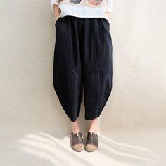 12e5ff66a19 Women Calf-length Pants Cotton Capri Pants Elastic Waist Linen Loose Pants
