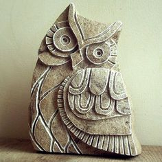 Owl Decor - Carved Stone Sculpture. Stone ornament. Owl Sculpture, Stone Figurine, Woodland art, Stone Carving, Rustic, Statue, Nature