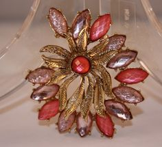 Vintage Brooch rhinestone shades of pink by SVintageCollection