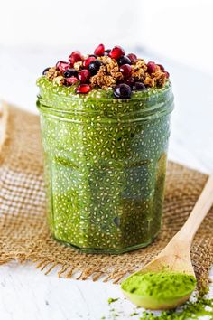 This healthy, creamy Matcha Chia Pudding is full of fiber and healthy fats to keep you satisfied all morning! It's perfect with granola and fresh fruit.