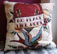 No-Place-Like-Home-tattoo-retro-vintage-swallow-heart-flowers-cushion-quirky