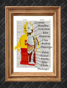 Lego Anatomy Skeleton on Antique Dictionary Page, art print, Wall Decor, Wall Art Mixed Media Collage