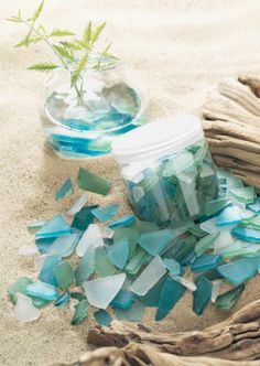Decorative Sea Glass - $10.50 - Endless decorative possibilities here with sea glass in shades of blue - green - white - pieces wary in size - sprinkle the glass in your shellscapes - with candles - use in crafts - jewelry making