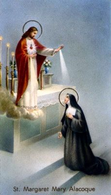 St. Margaret Mary Alacoque was a French nun whom Jesus appeared to and showed His Sacred Heart. Jesus told her how much He loves all of us and wanted her to spread devotion to His Sacred Heart. Few people believed her but she did her best to carry out the Lord's wish. Jesus blessed her hard work and pain. Today, this wonderful devotion to the Sacred Heart is practiced all over the world. Her feast day is on 16 October.